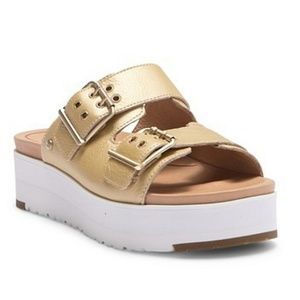 UGG Cammie Metallic Leather Platform Buckle Sandal